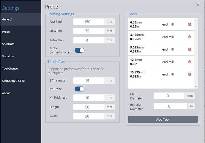 probe settings